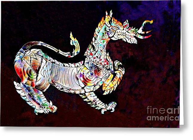 Iridescent Lion Greeting Card by Gregory Smith
