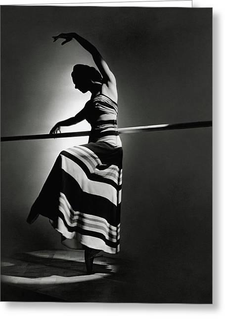 Irina Baronova Wearing A Stripes Greeting Card by Horst P. Horst
