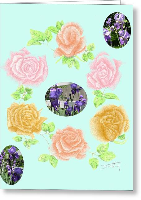 Iris Among Roses Greeting Card by Dusty Reed