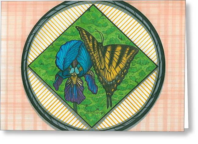 Iris And Butterfly Greeting Card by Richie Montgomery