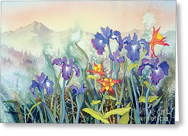 Greeting Card featuring the painting Iris And Columbine II by Teresa Ascone