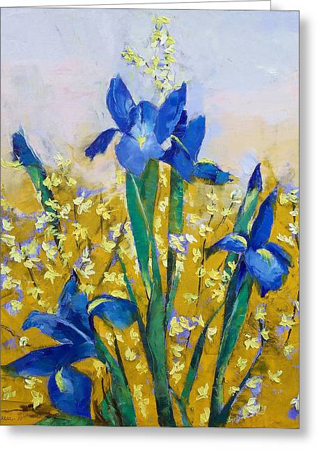 Iris And Forsythia Greeting Card by Michael Creese