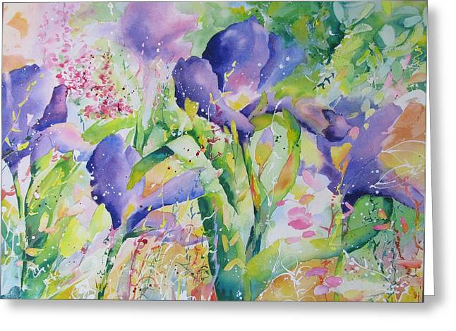 Greeting Card featuring the painting Iris And Friends by John Nussbaum