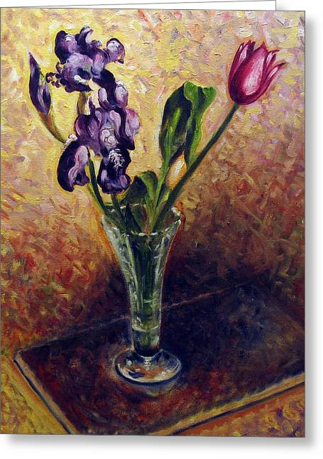 Iris And Tulip Greeting Card by Vladimir Kezerashvili