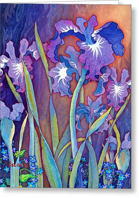 Greeting Card featuring the mixed media Iris Bouquet by Teresa Ascone