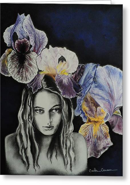 Greeting Card featuring the drawing Iris by Carla Carson