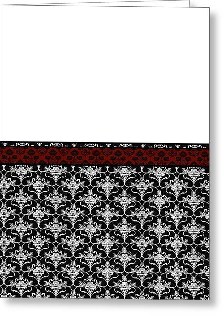 Iris Damask In Red Black And White Greeting Card