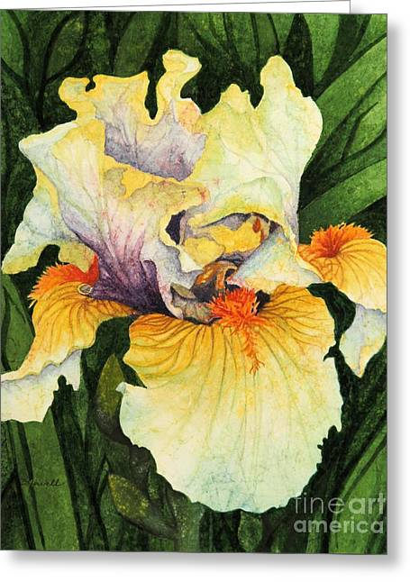 Greeting Card featuring the painting Iris Elegance by Barbara Jewell