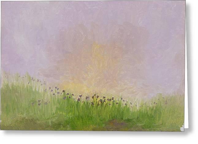 Iris Field Greeting Card by Mark Minier