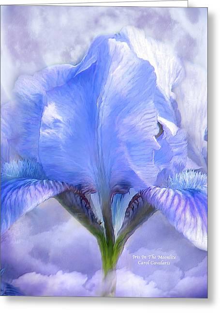 Iris - Goddess In The Moonlite Greeting Card by Carol Cavalaris