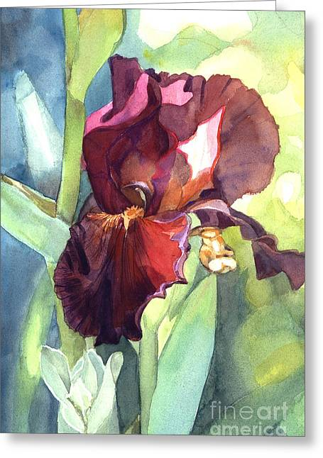 Watercolor Of A Tall Bearded Iris Called Sultan's Palace In Red And Burgundy Greeting Card