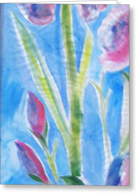 Iris In The Mist Greeting Card by Sandra Artimowich