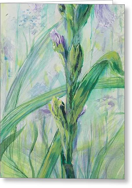 Greeting Card featuring the painting Iris Number Two by Cathy Long