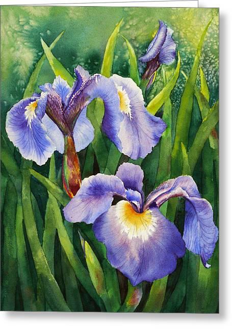 Greeting Card featuring the painting Iris Setosa Alaska by Karen Mattson