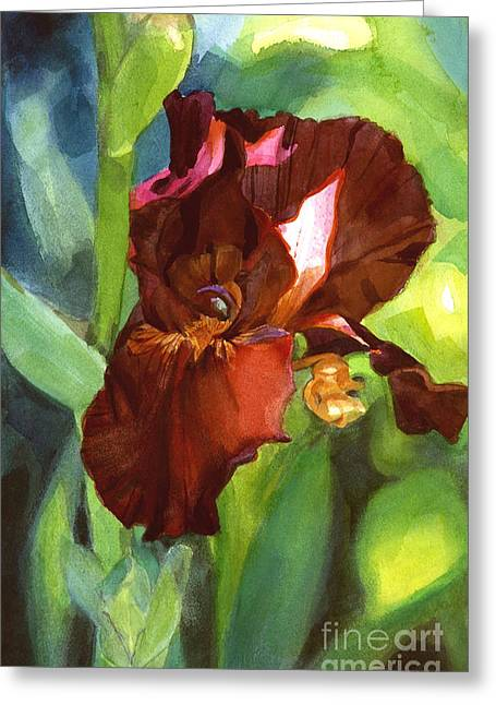 Watercolor Of A Tall Bearded Iris In Sienna Red Greeting Card
