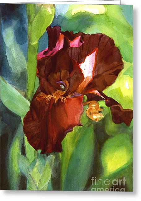 Iris Sienna Brown Greeting Card
