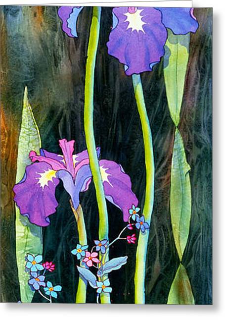 Greeting Card featuring the painting Iris Tall And Slim by Teresa Ascone
