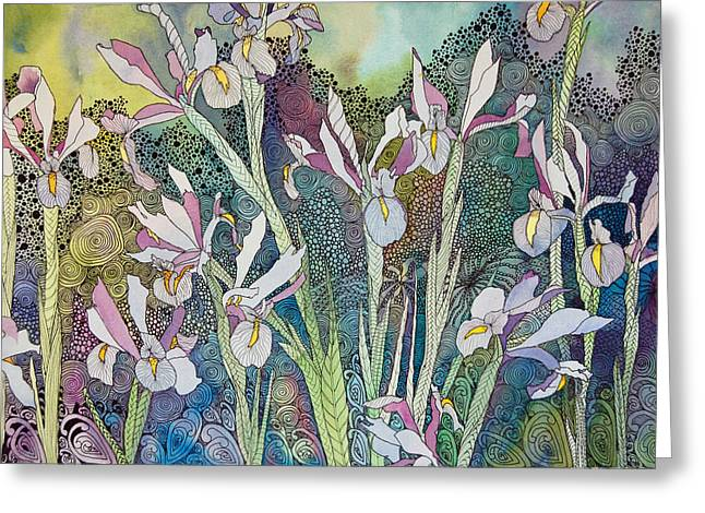 Irises And Doodles Greeting Card