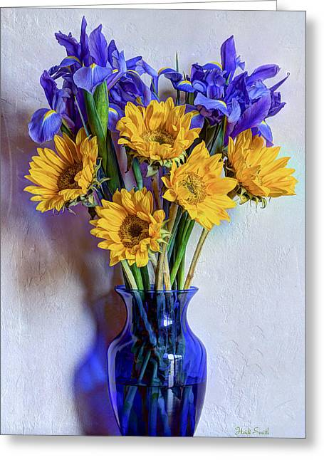 Irises And Sunflowers Greeting Card by Heidi Smith