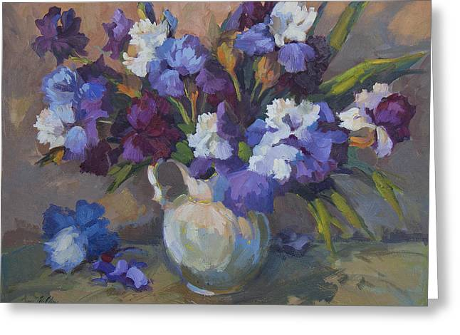 Pitcher Greeting Cards - Irises Greeting Card by Diane McClary