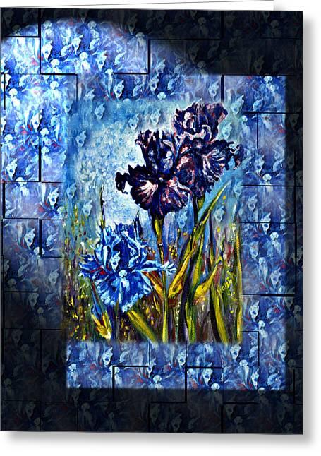 Irises Fantasy Greeting Card by Harsh Malik