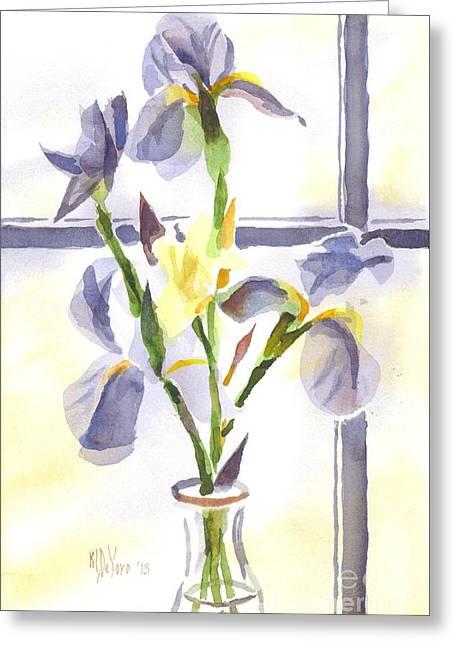 Irises In The Window II Greeting Card by Kip DeVore