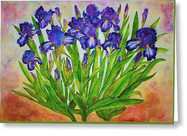 Irises Greeting Card by Janet Immordino