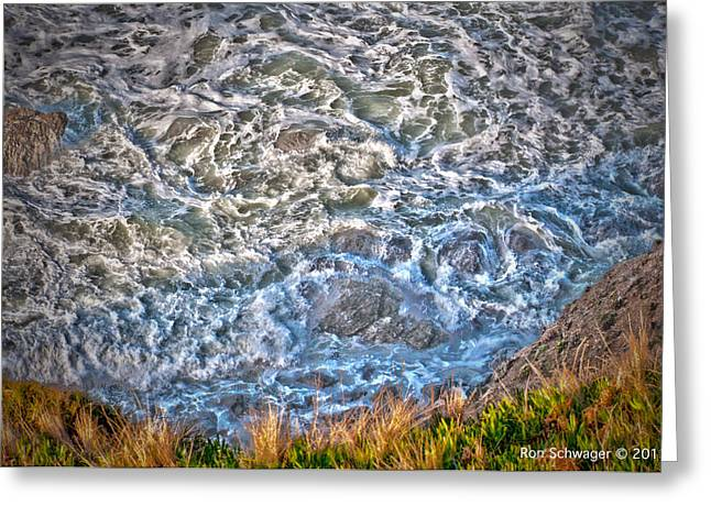 Irish Beach Ocean Movement Greeting Card by Ron Schwager