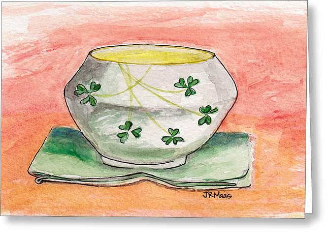 Irish Belleek And Linen Greeting Card by Julie Maas