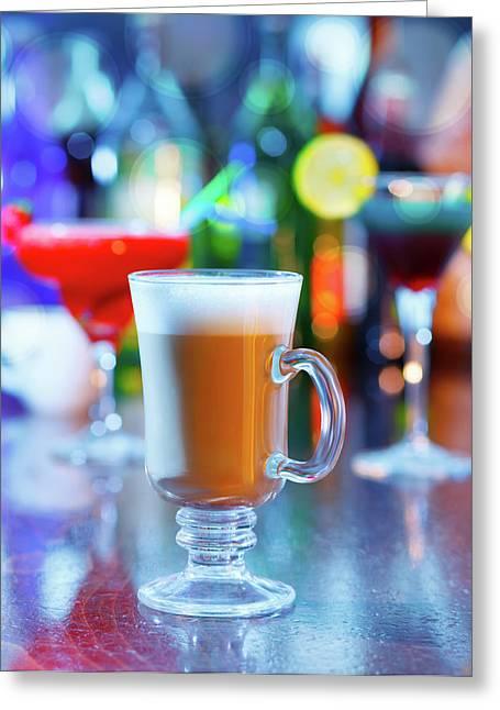 Irish Coffee On A Bar Greeting Card by Wladimir Bulgar
