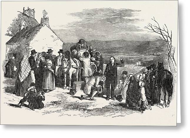 Irish Emigrants Leaving Home, The Priests Blessing Greeting Card