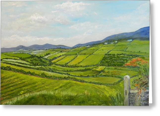 Greeting Card featuring the painting Irish Fields - Landscape by Sandra Nardone