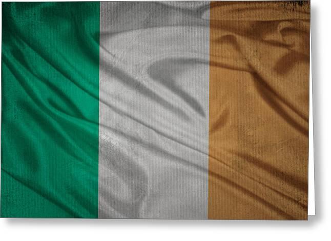 Irish Flag Waving On Canvas Greeting Card