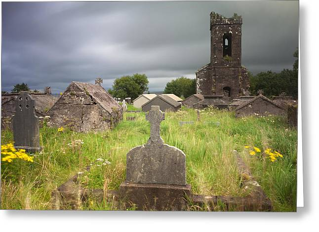 Irish Graveyard Cemetary Dark Clouds Greeting Card by Dirk Ercken
