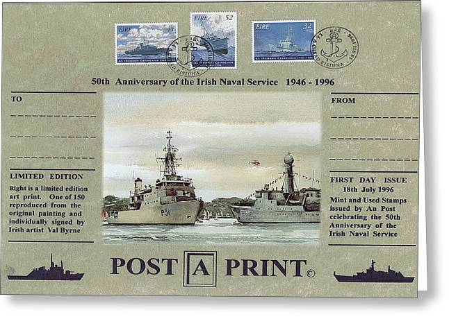 Irish naval service 75 year commemoration mixed media by val byrne irish naval service 75 year commemoration greeting card by val byrne m4hsunfo
