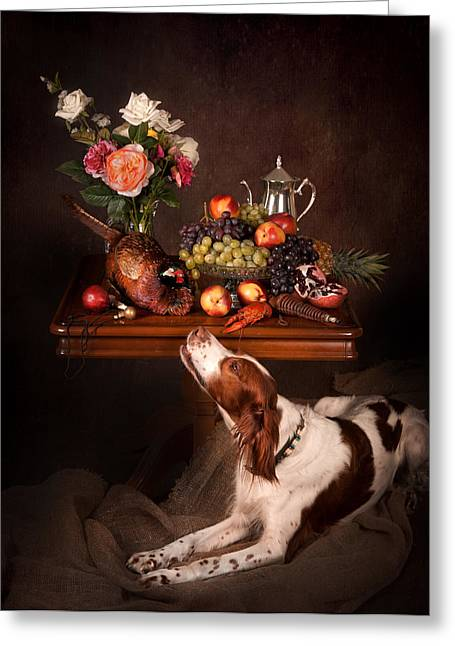Irish Red And White Setter With Fruits... Greeting Card by Tanya Kozlovsky