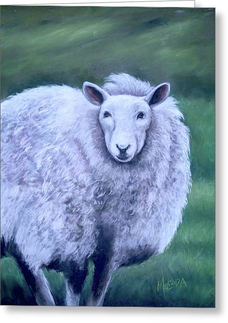 Greeting Card featuring the painting Irish Sheep Portrait by Melinda Saminski