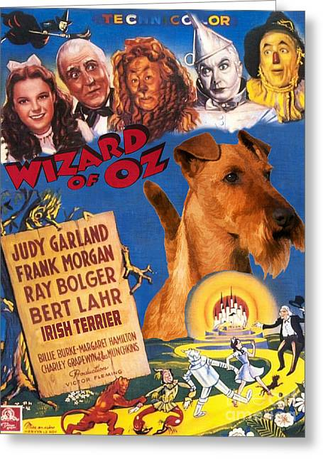 Irish Terrier Art Canvas Print - The Wizard Of Oz Movie Poster Greeting Card by Sandra Sij