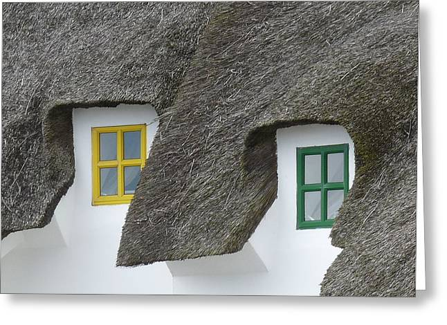 Irish Thatch Cottage Colored Windows Greeting Card by Patrick Dinneen