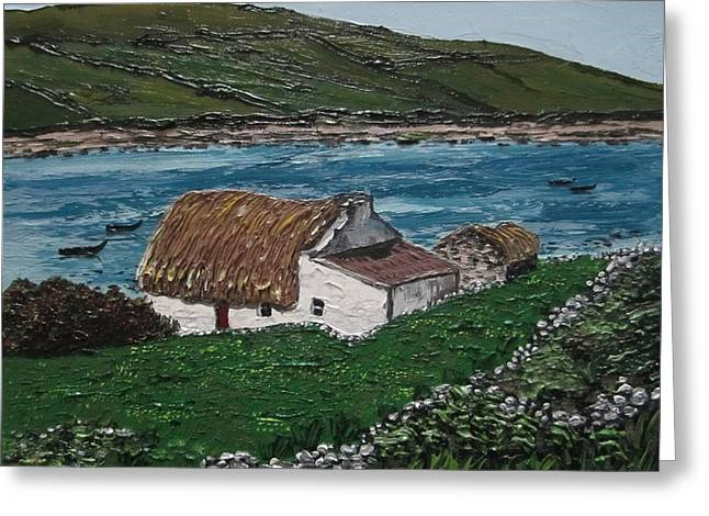 Irish Thatch Cottage Connemara Ireland Greeting Card