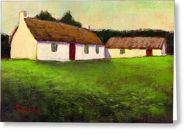 Irish Thatched Roof Cottages Greeting Card by Bernie Rosage Jr
