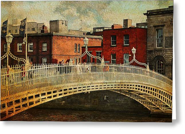 Irish Venice. Streets Of Dublin. Painting Collection Greeting Card by Jenny Rainbow