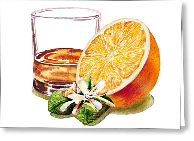 Greeting Card featuring the painting Irish Whiskey And Orange by Irina Sztukowski