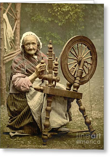 Irish Woman And Spinning Wheel Greeting Card by Padre Art