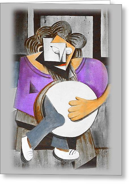 Irish Percussionist Greeting Card by Val Byrne