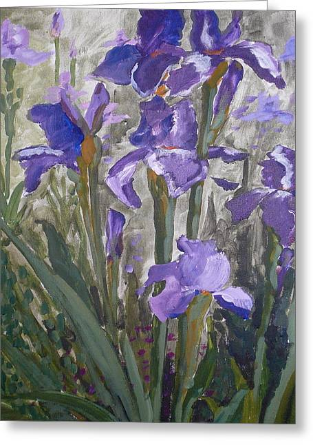 Irisis Greeting Card by Valerie Lynch