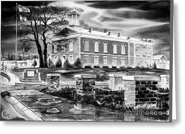 Iron County Courthouse IIi - Bw Greeting Card by Kip DeVore