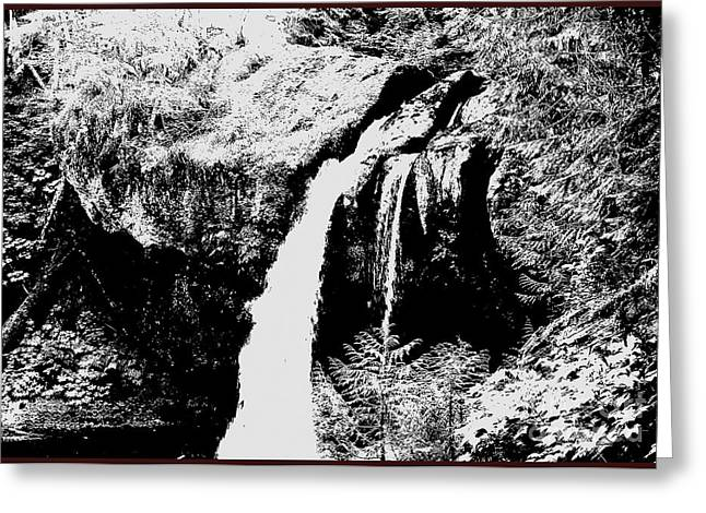 Iron Creek Falls Bw Greeting Card