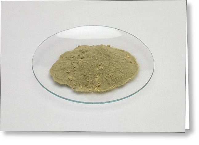 Iron Filings And Sulphur Powder On Glass Greeting Card
