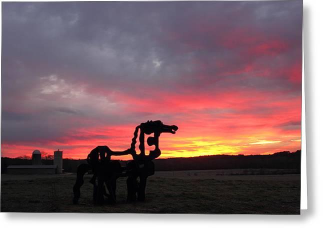 Iron Horse Waiting Greeting Card by Reid Callaway